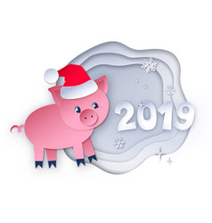 new year pig and 2019 numbers vector image