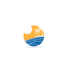 palm tree tropic sea logo vector image