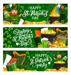 patricks day spring holiday fest leaflets on green vector image
