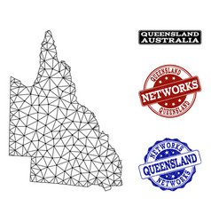 Polygonal network mesh map of australian vector