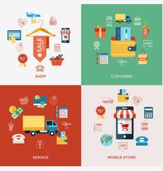 printdigital line icons set mobile shopping vector image