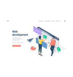 programmers developing web software together vector image