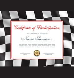 Races rally certificate award diploma car racing vector