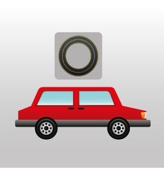 Red car side circle road way design vector