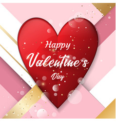 red paper hearts with geometric pastel background vector image
