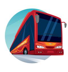 Round emblem with a modern passenger city bus vector