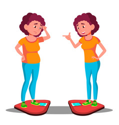 sad young fat girl on the scales happy slim girl vector image
