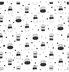 seamless pattern succulents and cacti in vector image