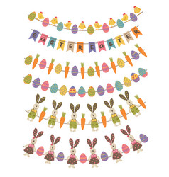 set isolated happy easter garland vector image