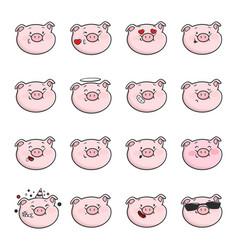 Set of emoticon icons emoji pigs vector