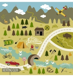 Set of icons for camping and hunting vector