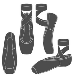 Set with pointe shoes ballet vector
