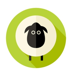 Sheep Flat Circle Icon over Green vector image