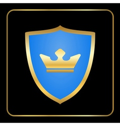 Shield gold icon with crown black vector image