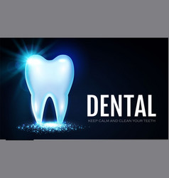 Shining helthy tooth with lights stomatology vector