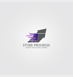 Shopping cart with arrow logo template logo vector