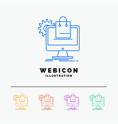 shopping online ecommerce services cart 5 color vector image