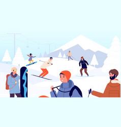ski resort fun winter people skiers and vector image