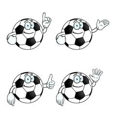 Smiling cartoon football set vector