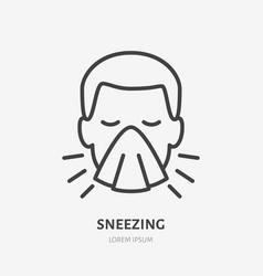 Sneezing man line icon pictogram flu or vector