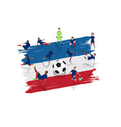 Soccer player team with france flag background vector
