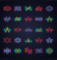 Sound and audio waves neon light icons set vector