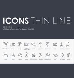 South korea thin line icons vector
