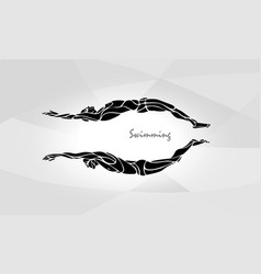 swimming sport silhouette swimmers vector image