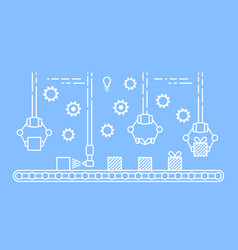 Thin line style assembly line vector