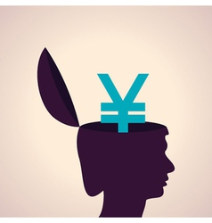 Thinking concept-Human head with yen symbol vector image