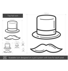 top hat line icon vector image