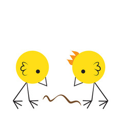 two cute birds eating crumbs on the floor flat vector image