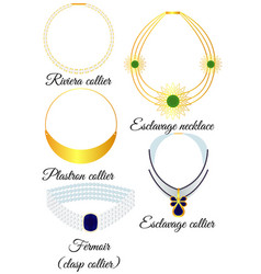 types of necklaces in appearance vector image