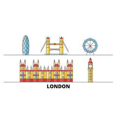 united kingdom london city flat landmarks vector image