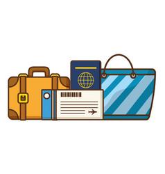Vacations suitcase handbag passport ticket vector