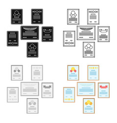 wall of certificates icon in cartoon style vector image
