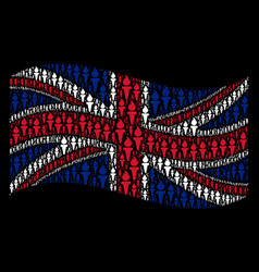 waving uk flag collage of freedom fire torch items vector image