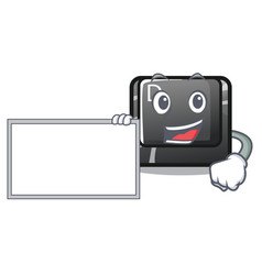 with board button d on a computer mascot vector image