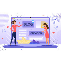 woman personal blog creation flat concept vector image