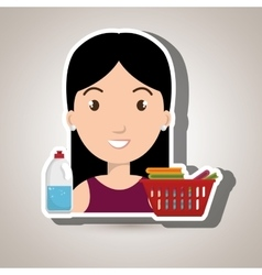 Womna cartoon basket clothes detergent vector