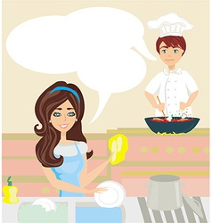 Workers in the kitchen woman washes dishes man vector