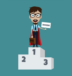 Young businessman in podium flat style superhero vector