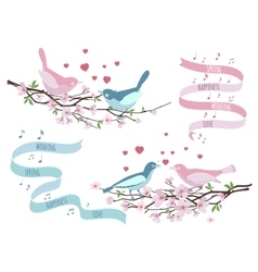 Birds on branches for wedding invitations vector image