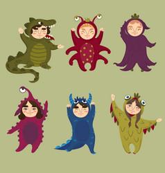 cute monster set children in monster costumes vector image