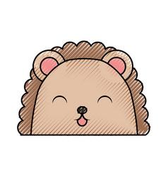 cute scribble armadillo face cartoon vector image vector image