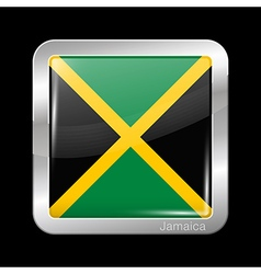 Flag of Jamaica Metal Icon Square Shape vector image vector image