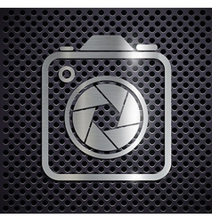 Flat metallic logo camera vector image vector image
