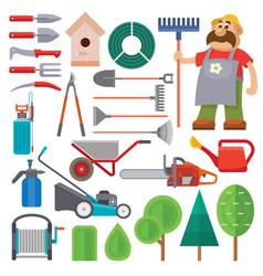 garden equipment flat set and gardener vector image