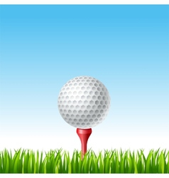 Golf ball on a tee on a grass vector image vector image
