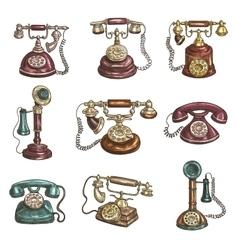 Old vintage retro phones sketch icons vector image vector image